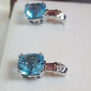 Jewelry - 14kt Blue Topaz Pink Tourmaline & Diamond Earrings